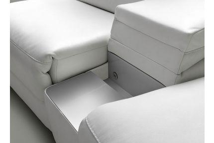 ROM Levana sofa with silver storage space shelf