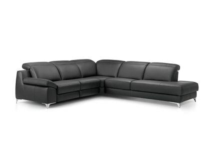 ROM Levana large black leather sofa
