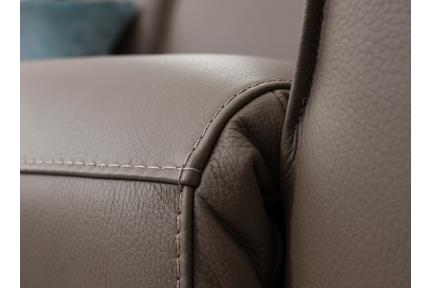 ROM Triton leather sofa stitching detail